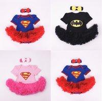 al por mayor tutús bodies-Batman Superman Rompers Recién Nacido Onesies TuTu Vestido Superhero Toddler Outfit Infantil Outwear Algodón Cartoon Baby Romper Baby One-Piece
