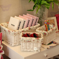 Wholesale White Wicker Basket Cosmetic Storage Box Books Organizer Crafts Tins House Keeper Furnishing Decorative Reto Desktop Sundries