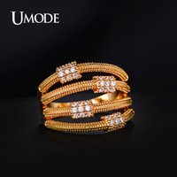 artistic wedding bands - UMODE Carpo Series Artistic Metal Lassos with Micro Cubic Zirconia Band Ring Gold Plated Jewelry For Women UR0168A