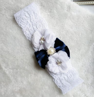 bachelorette party favor - Hot Sexy Pair Bridal Blue Ribbon Wedding Garter Toss Garter White Stretch Lace With Dark Blue Bow Bachelorette party Favor