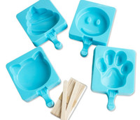 Cheap 50sets lot, Cartoon DIY Silicone Ice lolly Mold Molds Popsicle Maker Holder Frozen Ice Mould with Popsicle Sticks Kitchen Tools