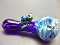 Wholesale 2016 heady glass pipes Blue Fumed Turtle hand Pipe glass tube glass Smoking pipe