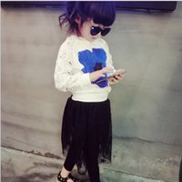 Wholesale 2016 Autumn Girls Korean Style Fashion Casual Set Hollow Out Lace Sleeve Floral Printed T shirt And Star Gauze Pantskirt Pieces Set