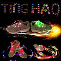 Wholesale 7 Colors LED Shoe Flashing shoelace light up Disco Party Fun Glow Laces Shoes Halloween Christmas gift Free DHL FedEx