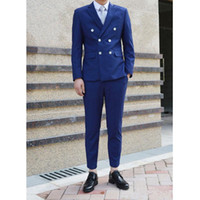 Wholesale royal blue custom made groom tuexdos slim fit men s suits two pieces double breasted wedding suits bridal suits formal suits jacket pants