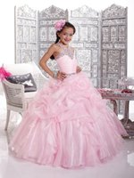 Cheap Floor-length Organza Beaded Ball Gown Pink Junior Bridesmaid With Ruching Dress Foe Girl Made In China