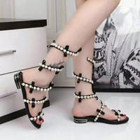 adhesive backing rubber feet - 2016 Stylish Design Rene Caovilla Sexy RC Pearl Around the Foot Sandals For Ladies