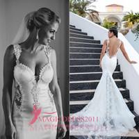 Trumpet/Mermaid modern dresses - Best Selling Boho Summer White Lace Bare Back Wedding Dress Beach Bridal Gown Mermaid Sheer Straps Tiers Sweep Train