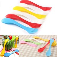 Wholesale 6 Plastic Spoon Fork Knife Camping Spork Combo Travel Party Utensils Cutlery Set