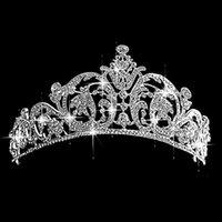 Cheap Silver Luxury Crystal Bridal Hair Accessories Wedding Tiara Crowns Princess Queen Pageant Prom Rhinestone Veil Tiaras Headband