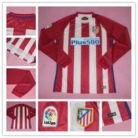 Wholesale Long Sleeve Atletico Madrid Soccer Jerseys Griezmann Fernando Torres Camisetas Koke Gabi Jackson Home Red Football Soccer Shirts