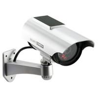 al por mayor circuito cerrado de televisión bala poder-Energía solar imitación de alta simulación Inicio CCTV seguridad simulada cámara falsa bala impermeable al aire libre de vigilancia Cámaras de seguridad