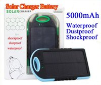 Wholesale 5000mAh Solar Charger and Battery Solar Panel portable power bank for Cell phone Laptop Camera MP4 With Flashlight waterproof shockproof