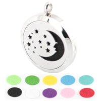 Wholesale 30mm star and moon Aromatherapy Essential Oil surgical Stainless Steel Perfume Diffuser Locket Necklace with chain and pads