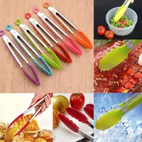 Wholesale Silicone Cook Salad Serving BBQ Ice Tongs Stainless Steel Handle Kitchen Tools