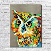 Wholesale 2016 hand painted abstract bird owl oil painting for living room decor hand made canvas art