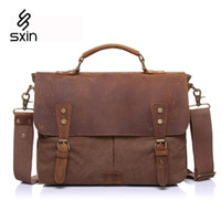 leather canvas laptop bag - Vintage Men Canvas Bag Genuine Leather Briefcase Men Laptop Bag Cowhide Briefcase Business Travel Bags Maletin Portatil