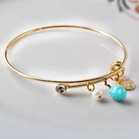 Wholesale New Charms Style Alex and Ani Bangle Crystal Pearl Turquoise Alloy Pendant Women Adjustable Bracelets