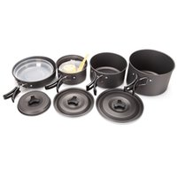 bbq table settings - 14pcs set Person Portable Aluminum Cooking Pots Frying Pan Skillet Cookware For Outdoor Picnic BBQ Camping