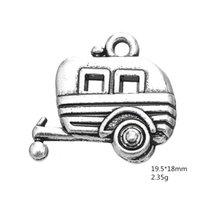alloy trailer - Vogue Zinc Alloy Antique Silver Plated Camper Car Trailer Charm For Bracelets Or Necklaces