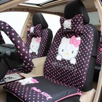 Wholesale set Cute Cartoon Hello Kitty Head Bow Comfortable Car Seat Covers Car Accessories Colors