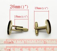 Wholesale Fashion Jewelry Tie Clips Cufflinks Retail Antique Bronze Cabochon Setting Cuff Links x20mm Fit mm sold per pack of pairs