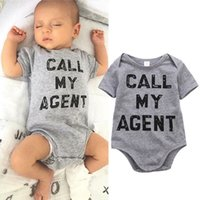 agent clothes - Cotton Newborn bodysuit Baby Girl Boy Clothing fashion Romper funny call me agent letter print kids Jumpsuit Playsuit Outfit