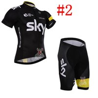 Wholesale 2016 Team sky cycling jersey Short sleeve summer cycling clothing men women bicycle wear short sleeve shirt with pants size s xl
