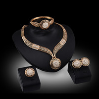 african women fashion - Bangles Necklaces Rings Earrings Jewelry Sets Women Fashion Rhinestone K Gold Plated Geometric Hollow Out Circles Wedding Jewelry JS011