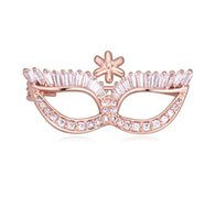 asian mask - Brooches For Women Fashion Luxury Personality High Quality AAA Zircon K Gold Plated Mask Style Brooch Pins Jewelry TB004