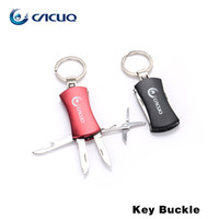Wholesale Cacuq Key Buckle black red with stainless steel key ring keychains acissor knife keychain bears and nail file in one buckle