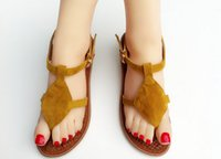 adhesive backed material - Hot Sale Yellow Women Round toe Sandals Flat Heel Natural Raw Material Healthy and Environmental Protection