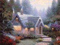 Cheap Free shipping High-tech Thomas Kinkade HD Print Oil Painting Art On Canvas cedar nook cottage 24x32inch Unframed