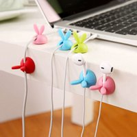 Wholesale 3pcs Cute Rabbit Cable Drop Clip Desk Tidy Organiser Wire Cord Lead Holder
