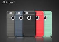 apple skin fiber - For Iphone Iphone7 Plus S S SE Rugged Armor Carbon fiber Brushed Skin Soft TPU Gel Rubber Back cover case CASES