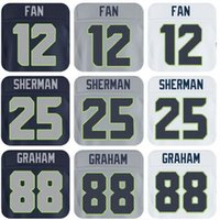 Wholesale 12 Fan Sherman Graham Throwback Football Jerseys Men s Stitched and and Embroidery Jerseys Size M XXXL