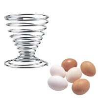 Wholesale 100Pcs Metal Spring Wire Egg Holder Boiled Eggs Egg Cup Special Design Egg Tray Kitchen Gadgets S339