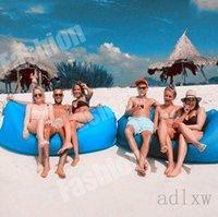 Wholesale 2016 New Lamzac Hangout Fast Inflatable Lounger Air Sleep Camping Sofa KAISR Beach Nylon Fabric Sleeping Bag Bed Lazy Chair ourdoor DHL