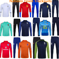 Wholesale Tracksuits National Team Training Suits Spain Sportsear Italy Soccer Jerseys Brazil Jackets Portugal Sweater Long Pants Kits Sets Hoody
