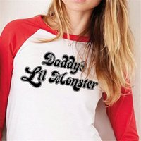 Wholesale Autumn New Suicide Squad Harley Quinn Daddy s Lil Monster Quater Sleeve T Shirt and Harley Quinn Cosplay Costume Tops