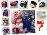 belted shirt - Harley Quinn Suicide Squad Jacket Bracelets Glove Cosplay Costume T shirt Coat Halloween Batman Joker Belt Necklace