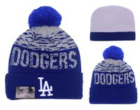 angeles beach - 2016 New Arrival Los Angeles Dodgers Pom Basball Knit Beanie Hats Sport Beanies For Men and Women Knitted Skullies Warm Winter Pom pom Caps