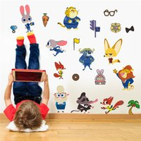 Wholesale 2016 D cartoon Zootopia wall stickers Animal Judy Hopps Nick Wilde wallpaper Children Kids Room Decoration Wall art factory price