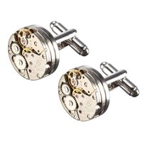 Wholesale Men Male Silver Mechanical Watch Pattern Bare Cufflinks Wedding Gift Suit Shirt Accessories