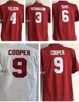 baseball sims - 2016 Youth Kids NCAA Alabama Crimson Cooper SIMS yeldon Richardson Red White jerseys Drop Shipping Top Quality Accept Mixed orders