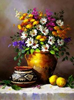 Wholesale New Wall Home Decoration Pictures A Bottle of Daisy Luxurious Reproduction of Archaic Oil Painting