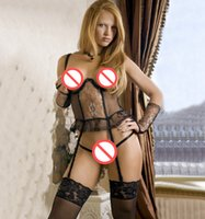 Wholesale Hollow out design sexy Women s Condole Belt Suit sexy lace Sling underwear coat G string Garters gloves sexy set Q11