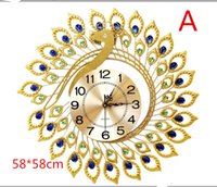 Wholesale Golden phoenix wall clock creative living room clock simple quiet continental table by the peacock