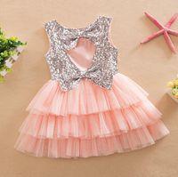 Wholesale 2016 New Summer Dress With Sequins Girls Lovely Sleeveless Vest Dress Tutu Cake Dress Colors Dress Children Dresses EM3921