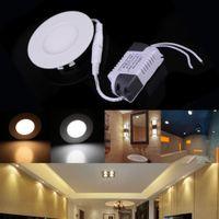 aluminium ceiling panels - Ultra Thin AC85 V W Bright Round LED Recessed Ceiling Panel Light Aluminium Down Lamp for Bathroom Kitchen warm white white